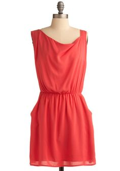 Coral History Dress, #ModCloth