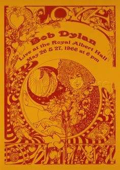 1966 Bob Dylan Live at Royal Albert Hall Concert Gig Poster Art Print by JA(c)anpaul Ferro - X-Small Bob Dylan Tour, Bob Dylan Live, Bob Dylan Poster, Rock Posters, Band Posters, Hippie Posters, Vintage Concert Posters, Vintage Posters, Royal Albert Hall