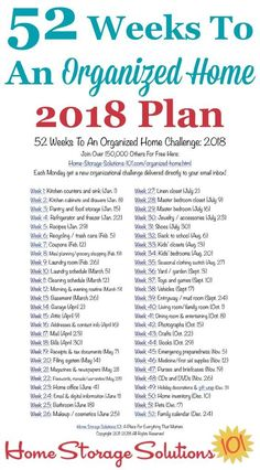 Free printable list of the 52 Weeks To An Organized Home Challenges for 2018. Join over 150,000 others who are getting their homes organized one week at a time! {on Home Storage Solutions 101} #OrganizedHome #Organization #Organized