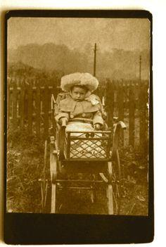 Sad Pram Baby, Cabinet Card, 1800's, Vintage Photo