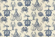 """Oceana by Thomas Paul, 100% cotton, $32.99 per yard, 54"""".  Perhaps this would be good a throw in the garden room."""