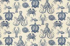 Sanibel Lagoon Luxury Tapestry Jacquard Fabric Sea Life