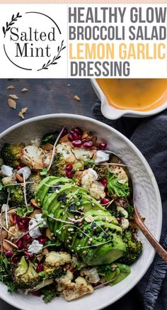 This warm healthy winter salad is the perfect way to keep you healthy all winter. This broccoli salad is easy and delicious. This salad uses the most basic ingredients to elevate your winter glow in these cold weather months. Roast Broccoli And Cauliflower, Broccoli Lemon, Broccoli Salad, Winter Salad Recipes, Healthy Salad Recipes, Vegetarian Recipes, Cooking Recipes, Healthy Winter Recipes, Shawarma