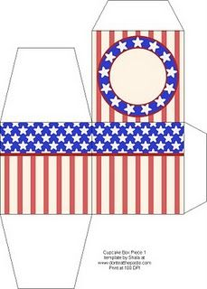printable 4th July cupcake box~great for a take home favor treat