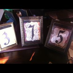Table numbers in old picture frames