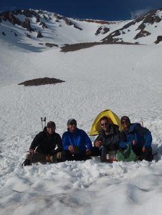 Dr. Tom Denham, far left, with his team at the 50/50 Flat on Mt. Shasta - July 2011.