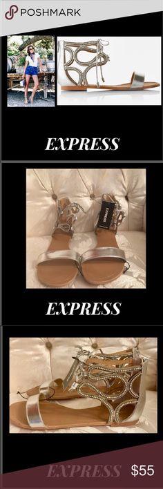 🦋Express•Silver Metallic Swirl Gladiator Sandal Express•Silver Metallic Swirl Gladiator Sandal    Silver leather,zip up back,tie front,metallic rhinestones,cut out swirl design  Sz 9 Express Shoes Sandals
