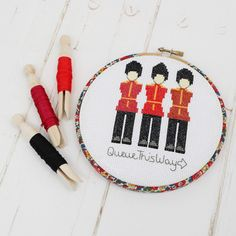 Queue This Way Cross Stitch Hoop Kit - Kit with hoop and glue