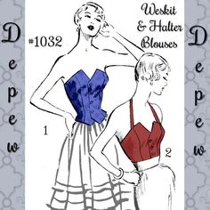 Vintage Sewing Pattern Strapless & Halter Top Blouses Style Multi and Plus Size Depew 1032 -PA Skirt Patterns Sewing, Vintage Sewing Patterns, Clothing Patterns, Pattern Sewing, Pdf Patterns, Strapless Tops, Bra Pattern, 1950s Fashion, Vintage Fashion