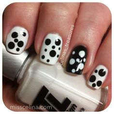 Simple, yet mod black and white design from March 2013 (NAIL ART BLOG MissCelinas). Used: TL Design Norway (white), China Glaze Liquid Leather (black), Seche Vite top coat. Dotting tool: Scroll Tone set from Lise Academy.