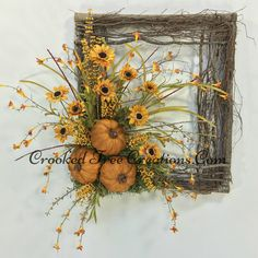 Sunflower Wreath Pumpkin Wreath Square by CrookedTreeCreation Twig Wreath, Wreath Crafts, Tulle Wreath, Burlap Wreaths, Wreath Ideas, Autumn Wreaths, Holiday Wreaths, Wreath Fall, Fall Door Wreaths