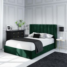 Buy Maddox Wing Back King Size Ottoman Bed in Green Velvet from - the UK's leading online furniture and bed store Green Headboard, Cushion Headboard, Green Bedding, Bedroom Green, Velvet Headboard, Bedroom Bed Design, Home Decor Bedroom, Bedroom Furniture, Home Decor Ideas