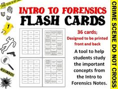 Intro to Forensic Science Flashcards *FREE