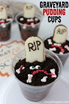Halloween party treats: Graveyard Oreo Pudding Cups Recipe.