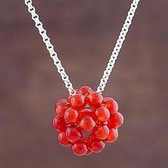 Carnelian pendant necklace, 'Raspberry' - Carnelian Cluster Pendant Necklace Sterling Silver Peru