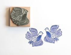 Wedding Invitation Rubber Stamp Lino Cut Love by noolibirdstamps