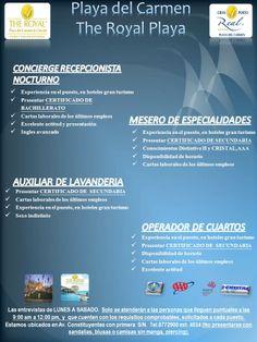 Vacantes en Playa del Carmen interesados enviar cv a gjimenez@realresorts.com