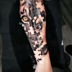 Jigsaw - Black & Grey Realism Arm Tattoo -Tiger Jigsaw - Black & Grey Realism Arm Tattoo - Tatuagem de anjos e Jesus Cristo em realismo colorido criada pelo incrível artista americano Brent Olson (brentolson_aj). Tattoos ✔ Tattoo H. Backpiece Tattoo, Mädchen Tattoo, Tiger Tattoo, Back Tattoo, Lion Arm Tattoo, Full Hand Tattoo, Gold Tattoo, Dope Tattoos, Forearm Tattoos