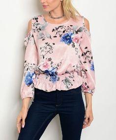 Look at this #zulilyfind! Pink Floral Cutout Blouson Top #zulilyfinds