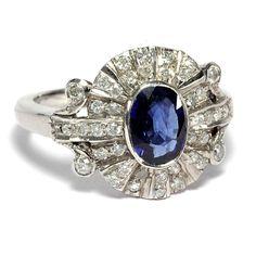 PLATIN! Saphir und Diamant Ring des Art Déco! Antiker Verlobungsring, um 1930