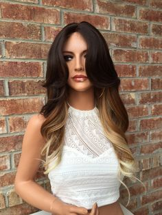"Bailey Auburn Ombre Rooted Blond Front Lace Wig 22"" Medium, rooted blonde curls…"