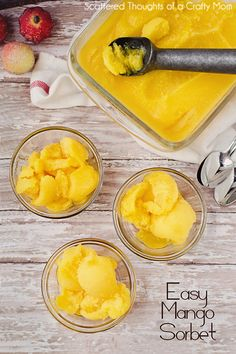 How to make Mango Sorbet the easy way. - How to make Mango Sorbet the easy way… - Frozen Desserts, Summer Desserts, Frozen Treats, Summer Treats, Summer Fruit, Gelato, Sorbet Ice Cream, Fruit Sorbet, Mango Sorbet Recipe Ice Cream Maker