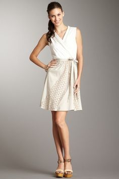 Max and Cleo Janet V-Neck Dress in Feather. $49.00 - available sizes: L and XL.