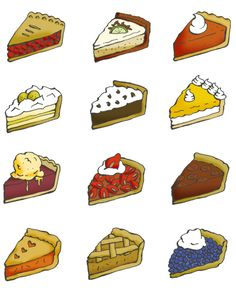 Twelve pie illustrations: cherry pie, key lime pie, pumpkin pie, banana cream pie, chocolate cream pie, lemon custard, pie a la mode, strawberry pie, pecan pie, peach pie, apple pie and blueberry pie. Bureau of Betterment