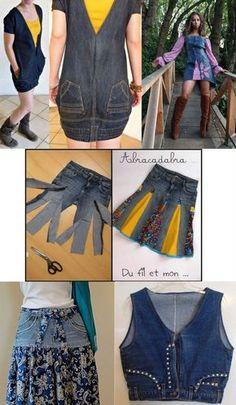 New facial jeans! Many utilities! – Refashion with Seenja New facial jeans! Many utilities! – Refashion with Seenja – - Jeans Refashion, Diy Clothes Refashion, Refashioned Clothes, Cut Shirt Designs, Artisanats Denim, Denim Ideas, Denim Crafts, Love Jeans, Amo Jeans