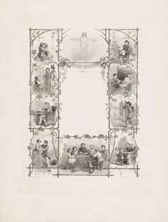 Willem Frederik Wehmeyer   Familietaferelen, Willem Frederik Wehmeyer, 1837 - 1854   In een florale ornamentrand zijn verschillende familietaferelen weergegeven. Van links naar rechts: Kussend paar, Christus met gespreide armen, jong gezin, een stel dat geld geeft aan een bedelaarster, een lezende vrouw bij haar man, een lezende man in een fauteuil, thuiskomst van een man bij zijn gezin, een wandelend stel, een gezin aan de eettafel en twee kinderen die bloemen aanbieden aan hun grootouders…