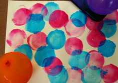 15 creative projects. Love the balloon prints. Could be great for art studio.