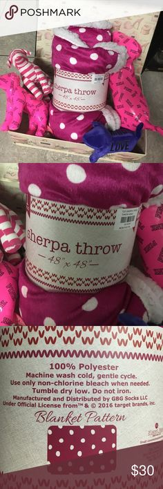 """💕Hot pink Polka Dot Sherpa💕 • Plush pink polka dot plush fabric • Sherpa on the reverse •size 48"""" X 48""""  The Sherpa Reversible Blanket in Hot Punk polka dot brings an extra-soft touch to a cozy nap. Its smooth pink hue fits most decor styles, too. Add this twin-size sherpa blanket to any bed for cozy comfort. Dimensions: L 48 inches x 48inches W Material: 100% Polyester, sherpa throw Other"""