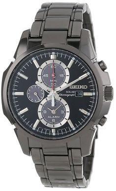 Montre Seiko Homme Automatique SSC095 - Chronographe - Cadran et Bracelet  en Acier inoxydable Noir - 3b14828455f