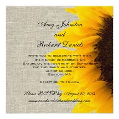 Burlap Linen Sunflower Rustic Wedding Invitation