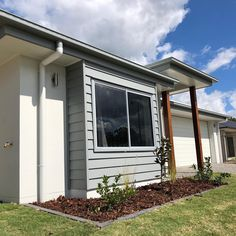 Grey Cladding Feature on White Render New Home - Neilsen's Painting - House Painting Brisbane And Just Like That, House Painting, Cladding, Brisbane, New Homes, Exterior, Grey, Outdoor Decor, Instagram