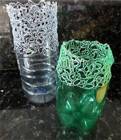 Recicla una botella y fabrica un bello florero