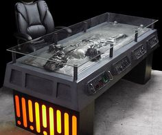 During the renovations of his lair, Jabba the Hutt's favorite decoration was converted from a lovely wall ornament to a fully functional desk. Made from metal and fiberglass, this incredibly detailed concept desk is a must have collector's item for Star Wars fans.