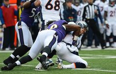 Pernell McPhee sacks Peyton Manning. Too bad flacco fumbled and threw a pick 6.