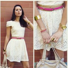 Cream/ White Floral Lace Opened-Dack Dress Cream-White Floral Lace with open back Dress. Has two buttons and zipper on back with open back. {dress it with a colored belt to add color} Size small. Come with tag Dresses Backless