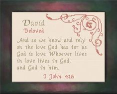David - Name Blessings Personalized Cross Stitch Design from Joyful Expressions Cross Stitch Designs, Cross Stitch Patterns, Christian Names, Names With Meaning, Religious Quotes, Joyful, Gifts For Family, Custom Framing, Blessings
