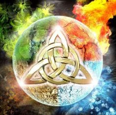 Earth, Air, Fire, Water, Spirit (self) The elemental Triquetra <3 one of my favorites
