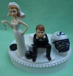 Wedding Cake Topper - Tampa Bay Lightning Hockey Key Themed