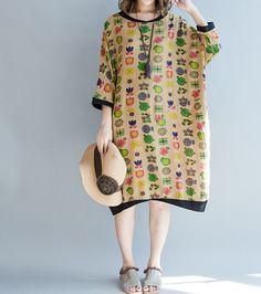 coton confortable femmes mi-longues surdimensionné lâche robe