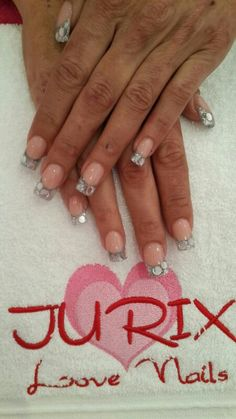 Silver French Manicure with Diamonds