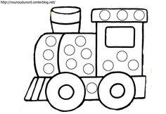 Mašina Preschool Writing, Preschool Art, Train Activities, Preschool Activities, Transportation Theme Preschool, Train Crafts, Felt Animal Patterns, Kindergarten Art Projects, Do A Dot