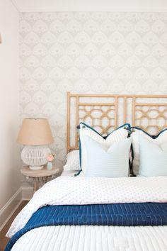 Coastal Style Guest Bedroom via Monika Hibbs | Palmetto Wallpaper via Serena & Lily