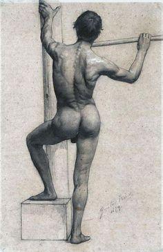 Gustav Klimt -Male Nude With Left Foot On A Pedestal 1879