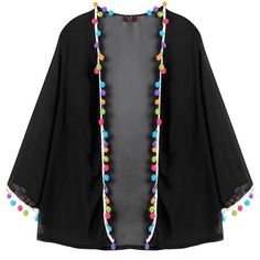 Yoins Black Chiffon Kimono Cover-Up (3.935 HUF) ❤ liked on Polyvore featuring swimwear, cover-ups, black, chiffon beach cover up, bikini swim wear, crop bikini, beach cover up kimono and chiffon cover up