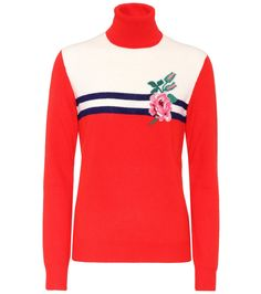 Gucci - Wool and cashmere turtleneck sweater - Gucci combines comfort and romance with this turtleneck sweater, crafted in Italy from a soft blend of wool and cashmere. The finely knitted design is presented in a classic colourway of red, ivory and blue with a rose embroidered to the chest for a feminine accent. The regular-fit turtleneck silhouette ensures endless pairing possibilities from sophisticated trousers to girly skirts. seen @ www.mytheresa.com