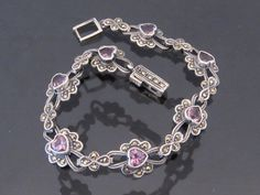 Vintage Sterling Silver Amethyst & Marcasite by wandajewelry2013